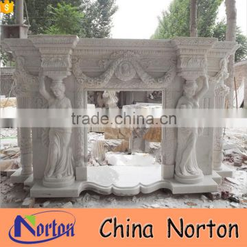 Carving roman lady statue white marble electric fireplaces NTMF-F824A