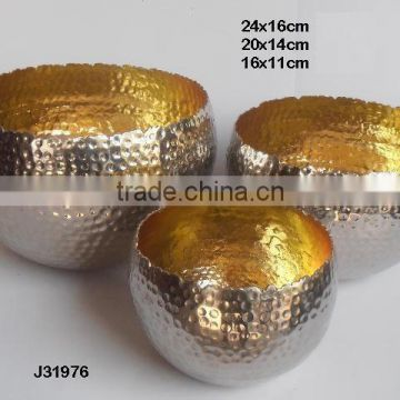 Nickel out side and golden colours in side Aluminium votive with flame like edges can be in any colour