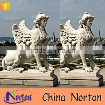 Natural marble Vienna the sphinx sculpture standing guard with large wings NTBM-L024L