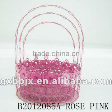 Set of Three Rose Pink Round Wire gift basket for Easter decoration
