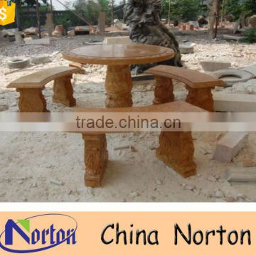 Red marble outdoor stone tables and benches for garden NTS-B278A