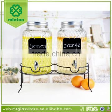 Double glass juice dispenser with metal stand,dispenser with black board