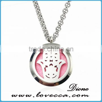 Silver Plating Aroma Aromatherapy Locket Necklace Essential Oils Perfume Pendant