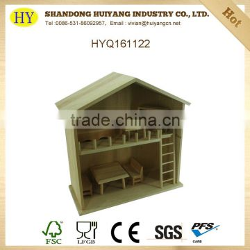 handmade unfinished wholesale wooden house toy