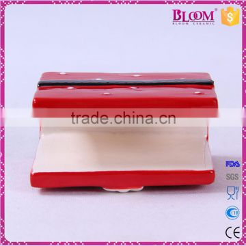 Red christmas tableware ceramic oblong napkin holder