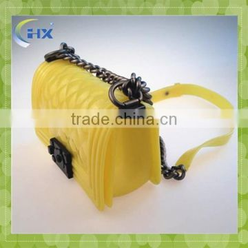 2015 Long alloy chain shoulder belt silicone rubber bag