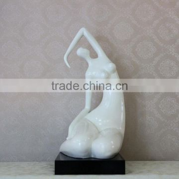 Modern Style White Resin Naked Fat Lady Art Sculpture