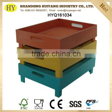 FSC wholesale colorful custom stackable wooden tray