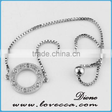 White gold plated Girls love queen crown zircon silver bracelets