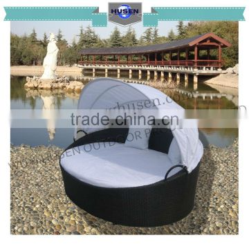 pe rattan outdoor furniture sunbed round appearance with canopy