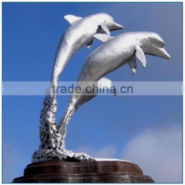 Modern Large Dolphin Stainless Steel Sculpture