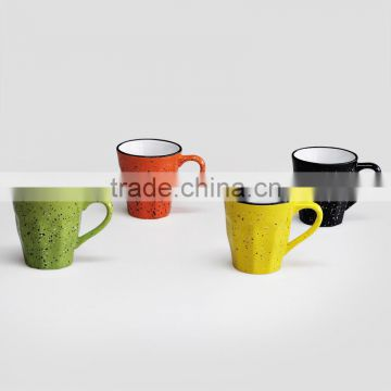 Speckled Solid Color Coffee Mug with Ribbed