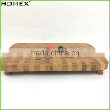 End Grain Bamboo Chopping and Cutting Block Board with Non-slip Mat/Homex_FSC/BSCI Factory