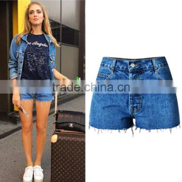 New arrival middle-waisted washed ragged hem sexy denim womens shorts