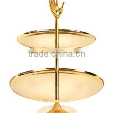 gold plated hand design 2 tier cake stand