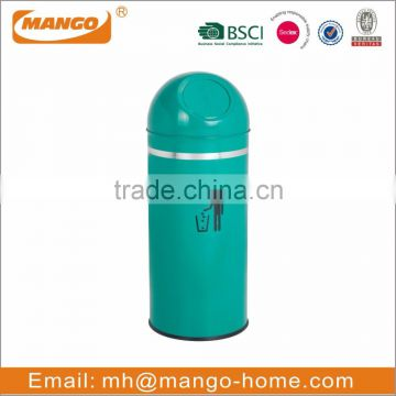 Fashionable metal waste bin with push cover
