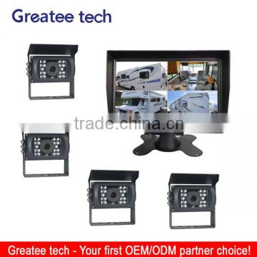 "car rearview camera system for bus/truck rearview 7"" Quad LCD add 4 bus camera"