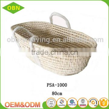 Hot sell handmade sleeping carry mose basket straw baby basket