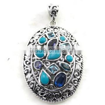925 Sterling Silver rare sleeping beauty turquoise and shades of blue semi precious gemstone pendant