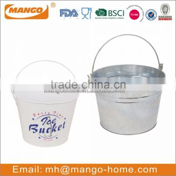 Tinplate metal oval ice bucket with handle