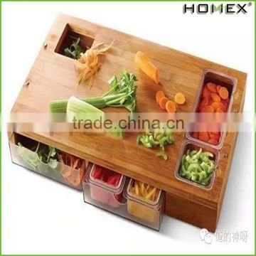 Bamboo cutting board w drawers Homex_BSCI Factory