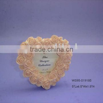 Polyresin Heart-Shaped Pink Flower Wedding Photo Frame