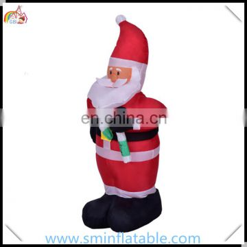 Christmas santa claus inflatable, inflatable santa claus with candy cane, christmas oxford cloth yard decor for outdoor event
