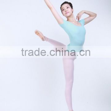 D031017 Sexy lycra short sleeve scoop neck artistic gymnastics leotards girls