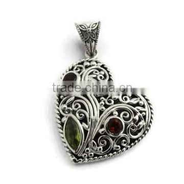 925 sterling silver indian handmade multi gemstone pendant
