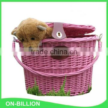 Removeable wicker basket for bicycle with lid