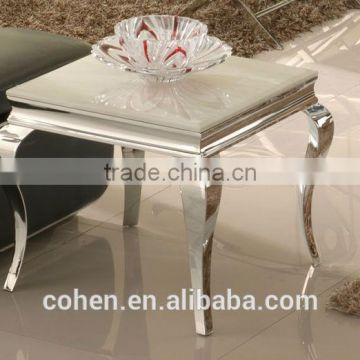 modern style square stainless steel marble top side/end table with high quality