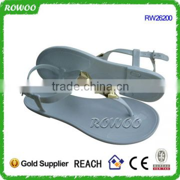 White PVC Material and PVC Outsole plastic jelly sandal