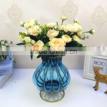 wrought iron flower glass and metal vases factory wholesale home decorative crafts antique