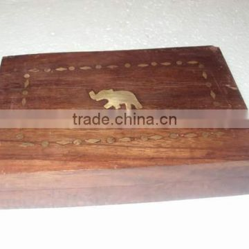 Wood carving storage box elephant embossed,wooden carved & brassinlay decorative box, decorative storage box, wooden storage box