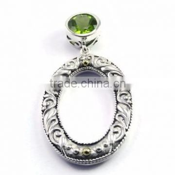 925 sterling silver Top Quality Peridot gemstone oval slide pendant with 18k gold accents