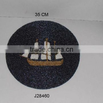 Round mat with ship design Glass bead place mat other colours also available