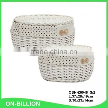 Set 2 wholesale hand woven white willow basket with lid for storage