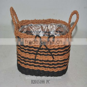 Handmade woven paper rope flower pot with handles