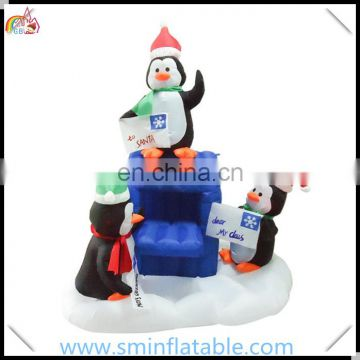 Christmas ornament led inflatable penguins, promotion inflatable penguin family with lamppost for advertising xmas decortion