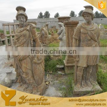 Life Size Outdoor Antique Stone Warrior Sculpture for garden decoration