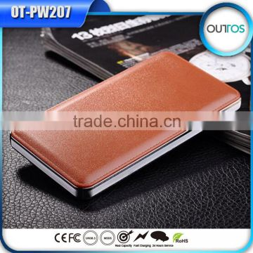 Leather case dual usb output 12000mah smart mobile phone power charger