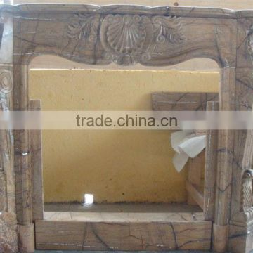 Brown marble stone fireplace mantel
