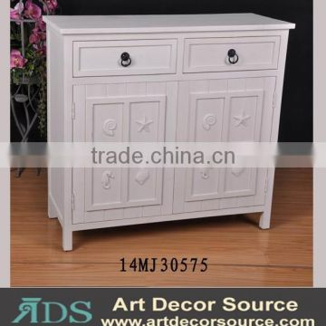 Europen design pure white large wooden cabinet, with sea shell decor