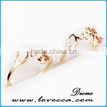 Fashion stainless steel gold ring womens weddings