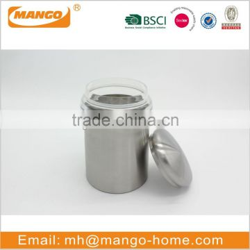 Stainless steel airtight storage metal small round food coffee canister with lid