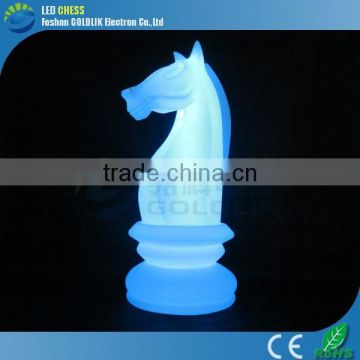 Wireless Remote Control Big Show Plasic Large Decorative RGB Color Horse Illuminated Chess Set