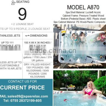 9 Adults portable bathtub/Hot tubs made in china (A870)