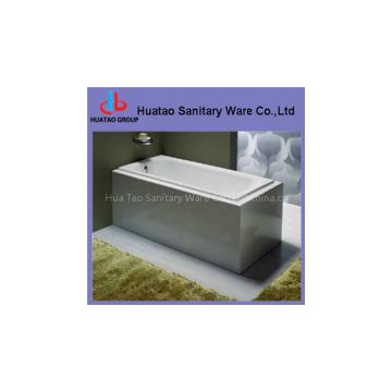 rectangular cast-iron bathtub