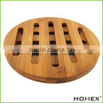 Round Nature Bamboo Table Plate Mat/ Bamboo Trivet Homex_BSCI/ FDA/ LFGB