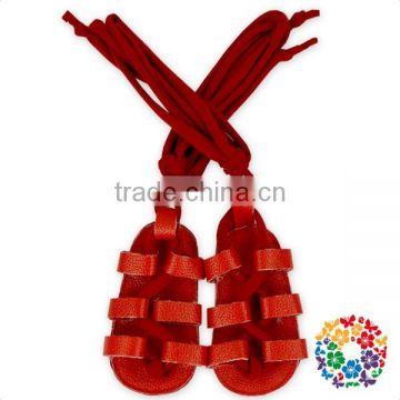Fahion Designs Baby Shoes Red Leather Bandage Shoes Summer Baby Sandals